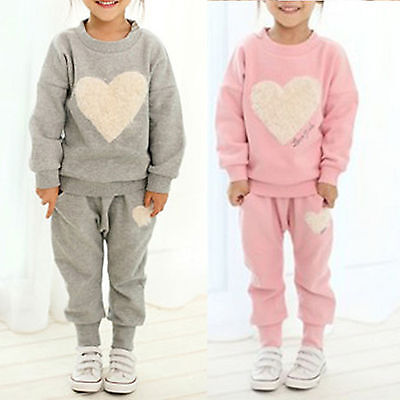 2pcs Kids Girls Cute Sweet Heart Printed Tracksuit Tops + Pants Outfits Set Suit
