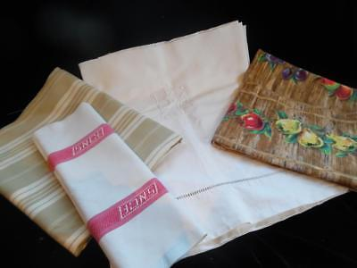 VINTAGE FRENCH FABRIC BUNDLE-MONOGRAM LINEN TICKING PATCHWORK PROJECT (Batch 3)