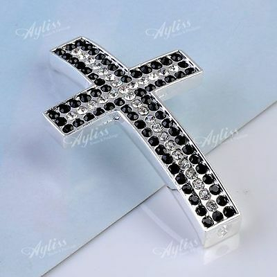 Crystal Rhinestones Charm Silver Cross Jewellery Connector Findings Spacer Beads