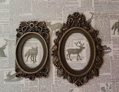 2 DOLLS HOUSE large OVAL fancy frames paintings 1:12th scale ...