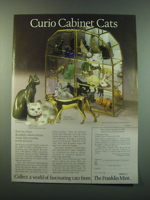 1988 Franklin Mint Curio Cabinet Cats Ad - Curio Cabinet Cats