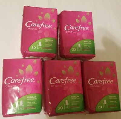 CareFree Original Fresh Scented Pantiliners 20 count each, lot of 5