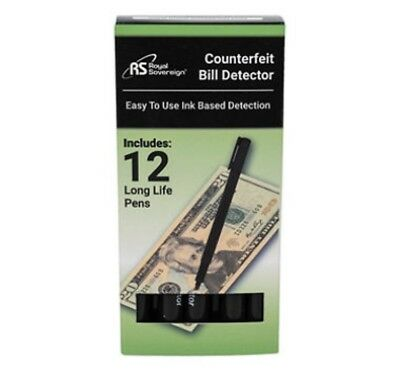 12-Royal Sovereign Counterfeit Detector Pens Easy to Use Ink based Detection.