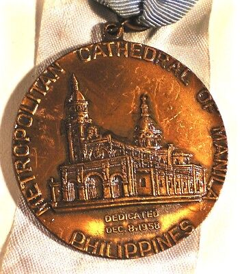 PHILIPPINES Medal MANILA CATHEDRAL 1958 Rededicated Cu 43mm Ribbon PDD IN USA!