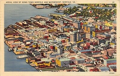1940s Downtown Norfolk Virginia Aerial View Waterfront Vintage LINEN POSTCARD