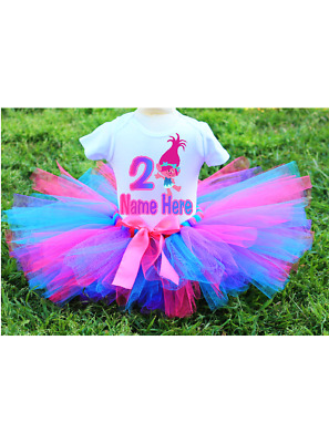 Princess Poppy Trolls Birthday Tutu Outfit Set Your Childs Name And Age