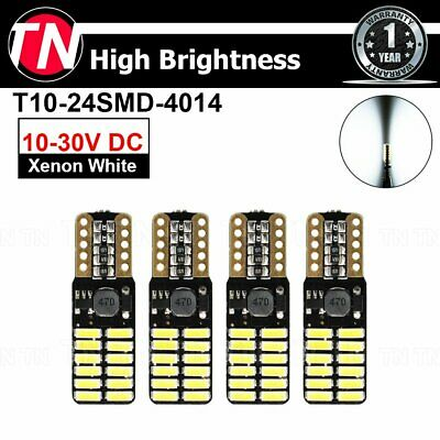 4 Pcs T10 W5W Pure White 194 Door Courtesy Car interior Dome Map 24 SMD LED 4014