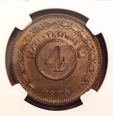 1870 Shaw Paraguay 4 Centesimos Ngc Ms63Bn Challenge Coin