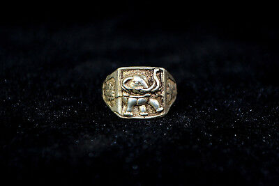 Vintage Collectible handwork Old Tibet Silver carve elephant chinese totem Ring
