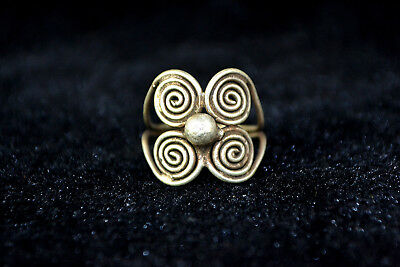 Vintage Collectible handwork Old Tibet Silver carve flower chinese totem Ring 2