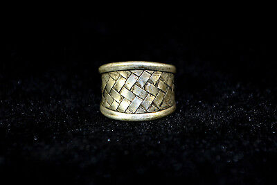 Vintage Collectible handwork Old Tibet Silver carve weave chinese totem Ring
