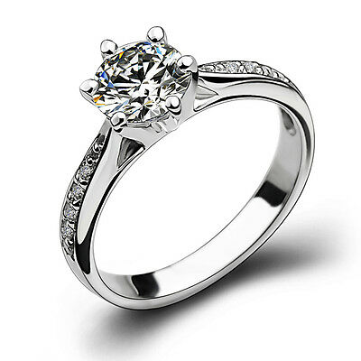 18k White Gold Filled Silver Base Women Wedding Bridal Engagement Ring R34