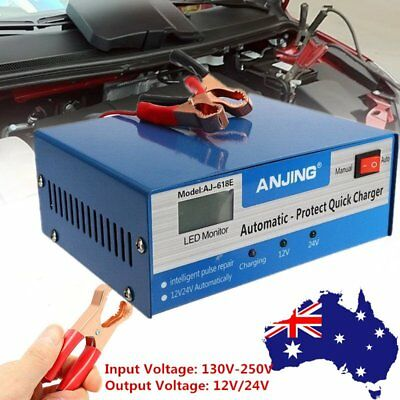 AU Auto Car Battery Charger Intelligent 130/250V 12/24V 200AH Pulse Repair NEW