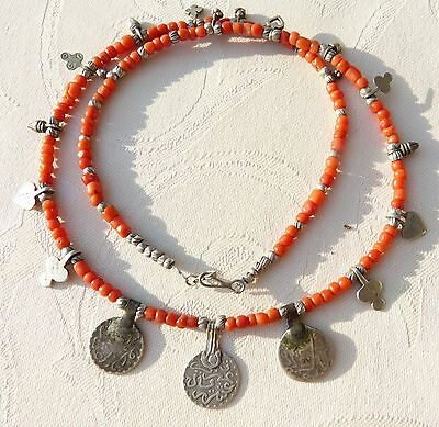 Moroccan Jewelry, Berber coral necklace with silver coin pendants