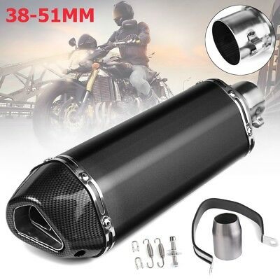 38~51mm Universal Motorcycle Exhaust Muffler Pipe with Silencer 400mm Black