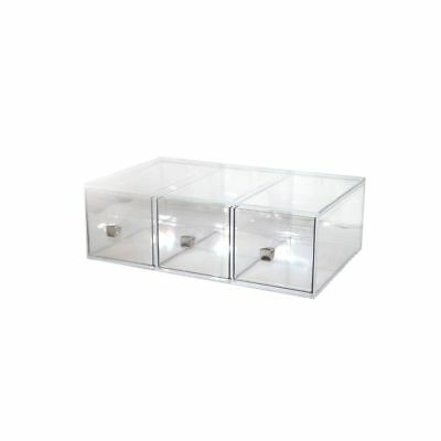 "Cal-Mil 1479 Clear 19"" x 13"" 3 Drawer Bread Box Display"