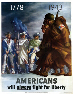 "1943 Americans Fight For Liberty WWII Poster Art Print 8.5"" x 11"" Reprint"