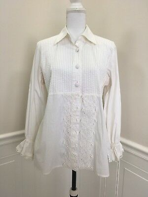 Soft Surroundings Pretty White Blouse Shirt Top W Lace And Pleat