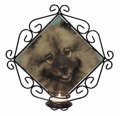 Keeshond Dog Wrought Iron T-light Candle Holder Gift, AD-KEE1CH