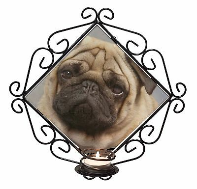 Fawn Pug Dog 'Yours Forever' Wrought Iron T-light Candle Holder Gift, AD-P1yCH