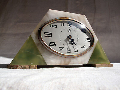 Antique French Art Deco DEP Mantle Clock 8 JOURS Marble 1930s