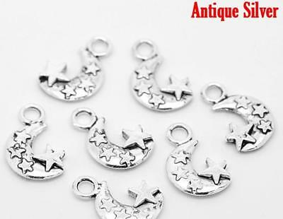 20 Moon and Stars Charms Antique Silver - Double Sided - Crescent Moons