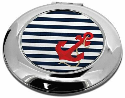 Nautical Stripes Red Anchor Make-Up Round Compact Mirror Christma, NAUTICAL-1CMR