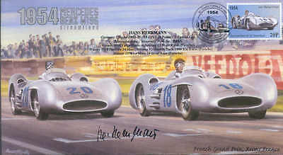1954d  MERCEDES BENZ W196 STREAMLINED, REIMS F1 Cover signed HANS HERRMANN