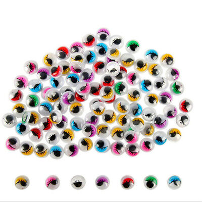 100PCS Coloured Eyelashes Wiggly Wobbly Googly Eyes Lash   (Color:Multicolors)