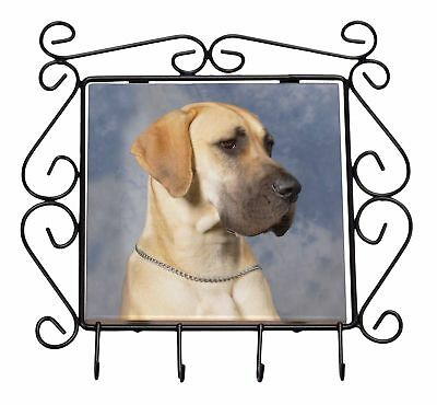 Fawn Great Dane Wrought Iron Key Holder Hooks Christmas Gift, AD-GD1KH
