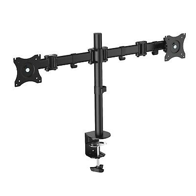 Dual 2 Monitor LED LCD Screen Full Motion Swivel Arm Adjustable Desk Mount Stand