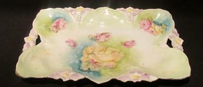 Hand Painted Vintage Tray interesting Design Orchid Handles Detail 11.5 X 7.5""