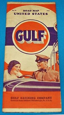 1931 Gulf Automobile Road Map #25 For The United States