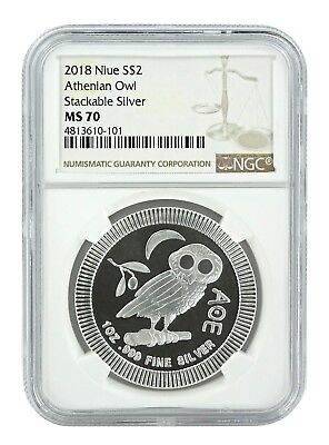 2018 Niue 1oz Silver Owl Of Athena Coin NGC MS70 - Brown Label