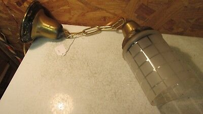 Antique Brass Pendent Light Fixture & Shade  No. 1