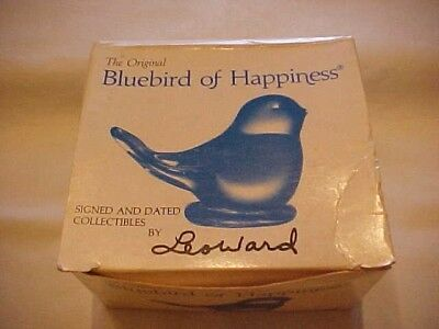 Bluebird Of Happiness, Signed & Dated Collectibles By Leo Ward; Blue Glass