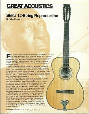 The Stella 12-String Reproduction acoustic guitar 8 x 11 pinup photo / article