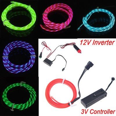 Neon LED Light Glow EL Wire String Strip Rope Tube Chasing Car +3/12V Controller