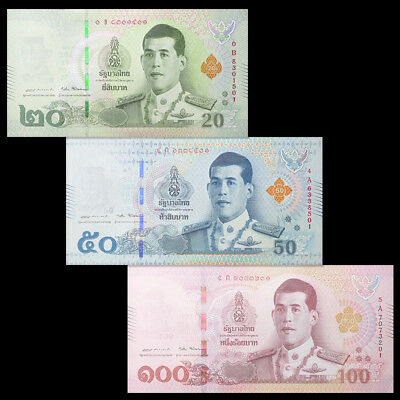 Thailand Set 3 PCS, 20 50 100 Baht, 2018, P-New, King Rama X, UNC