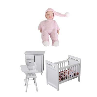 1/12th Dollhouse Miniature Furniture Wooden Nursery Room Set and Baby Doll