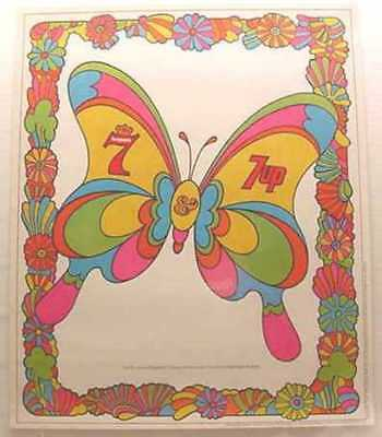 Rare Vintage Seagrams 7 & 7 Up Psychedelic Butterfly Poster *