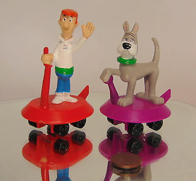 Set (2) Hanna Barbera JETSONS George & Astro Dog On Space Cars Wheels Applause
