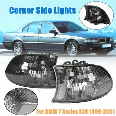 2x Smoked Euro Corner Signal Lights For BMW E38 7 Series 740i 740iL 750iL 99-01
