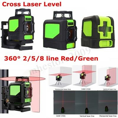 2/5/8 Line Red/Green 360 Degree Rotary Laser Level Self-Leveling Cross Measure