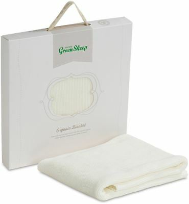 The Little Green Sheep Organic Knitted Baby Blanket - Eco White