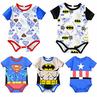 Newborn Baby Boy Girl Jumpsuit Superhero Romper Bodysuit Babygrow Outfit Clothes