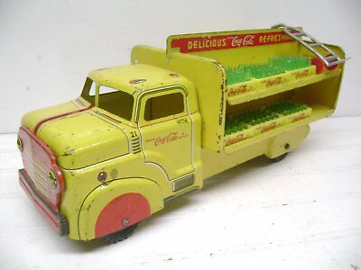 1950'S Marx Pressed Steel Coca Cola Truck With Cases & Hand Truck, Coke