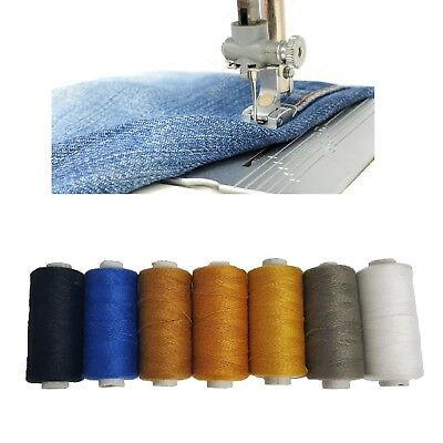 Set Of 7 Denim Threads Polyhammer Cotton Spools Sewing Strong Stitch Button Jean