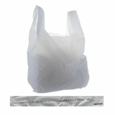 Biodegradable Polythene Vest Carrier Bags Various Quantities and Sizes