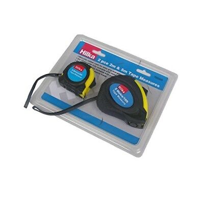 2 Pce 2m/6ft & 5m/16ft Tape Measures - M Hilka Tools 75920025 Blackyellow 2piece